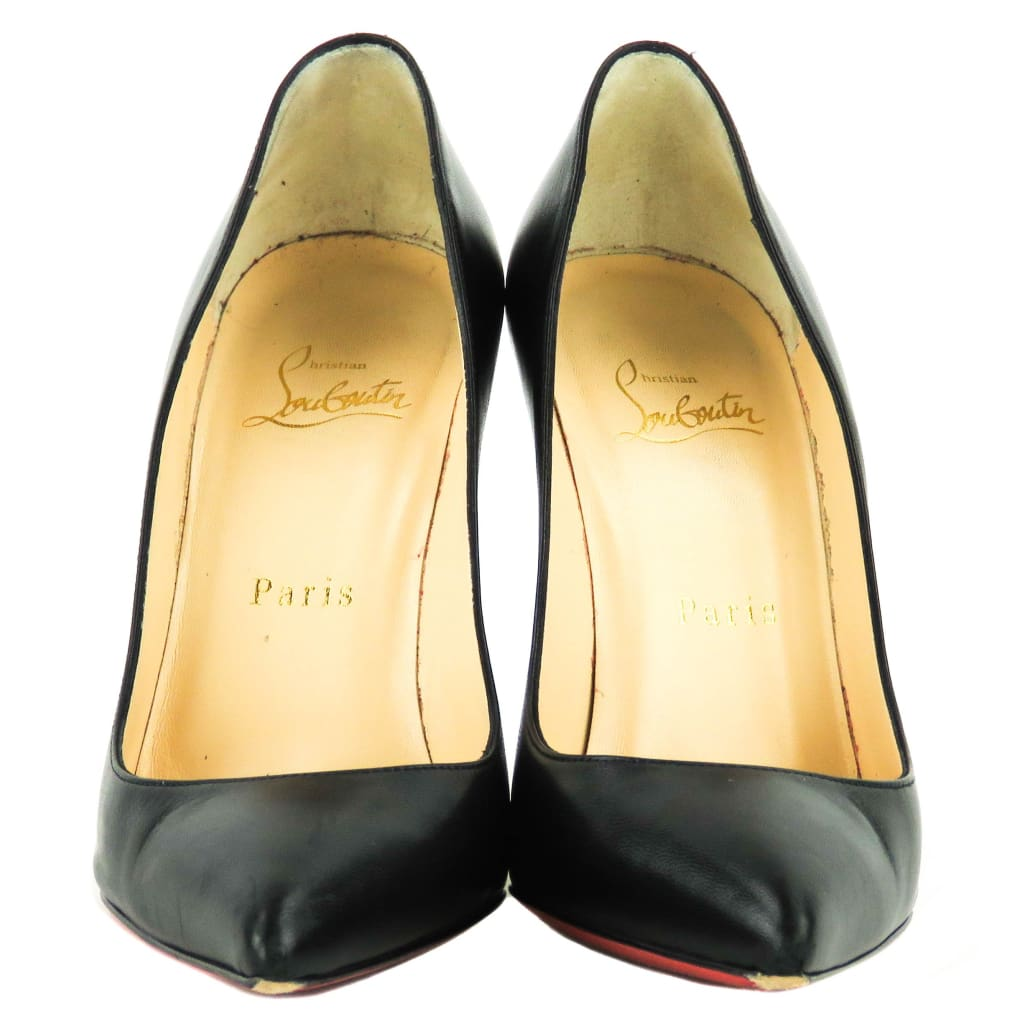 Christian Louboutin Black Leather Pigalle Follies Pointed Toe Pumps - Heels