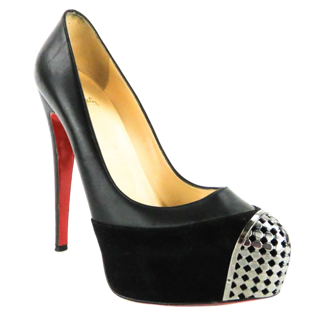 Christian Louboutin Black Leather Steel Toe Maggie Platform Pumps - Heels