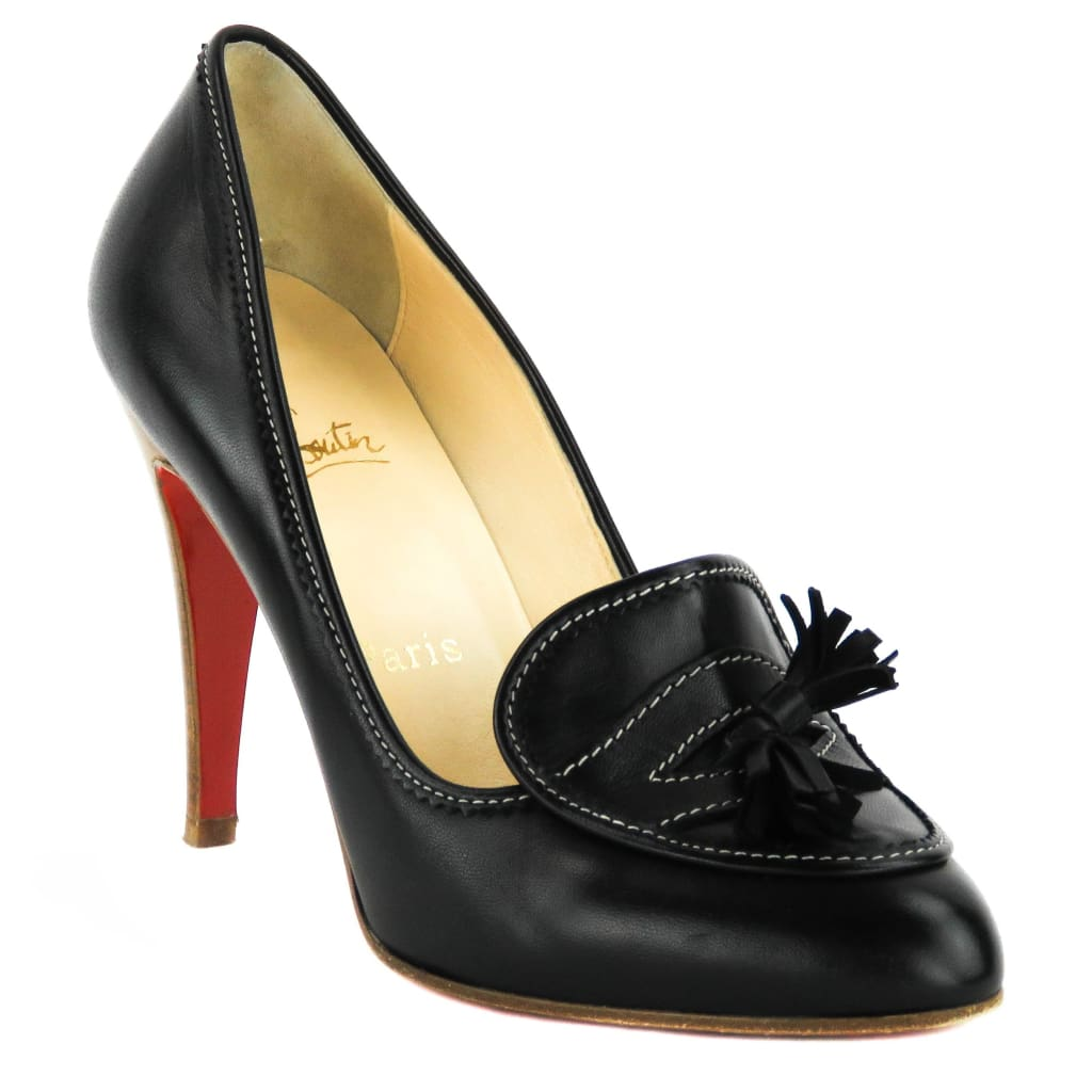 Christian Louboutin Black Leather Tassel Loafer Heels - Heels