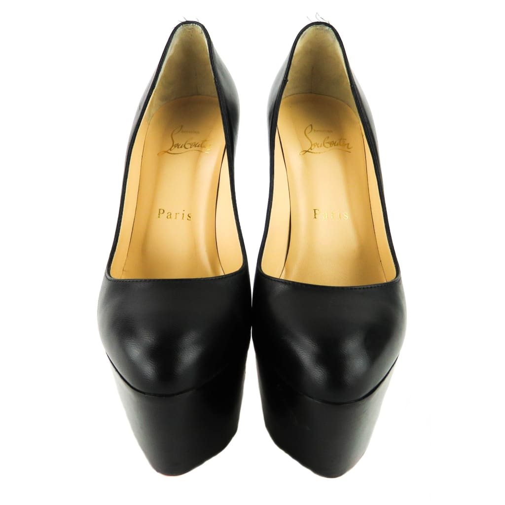 Christian Louboutin Black Leather Victoria 160 Platform Pumps - Pumps
