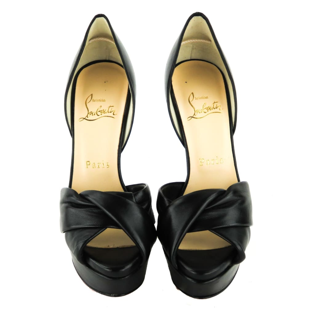 Christian Louboutin Black Leather Volpi Peep Toe Platform Pumps - Heels