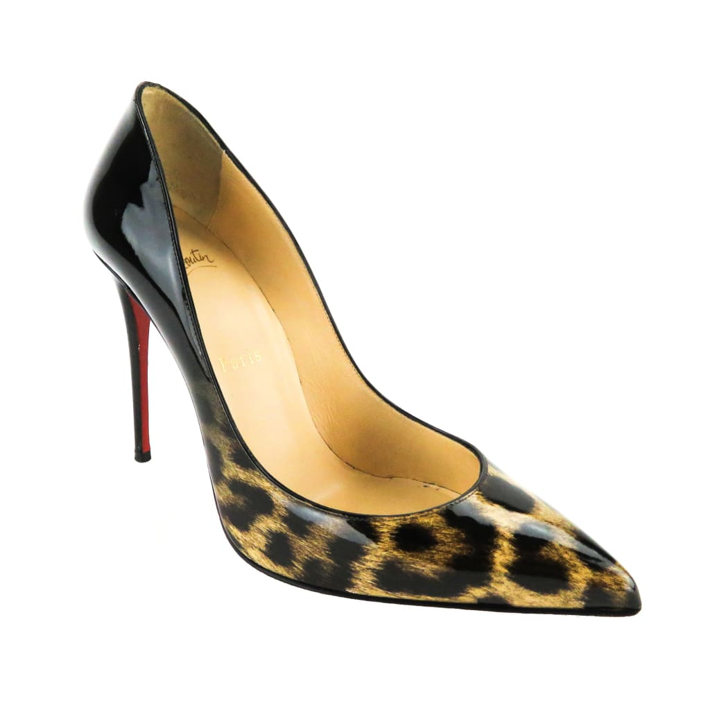 Christian Louboutin Black Patent Leather Leopard Degrade So Kate Pumps - Heels