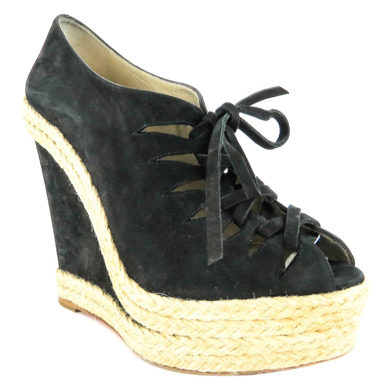 Christian Louboutin Black Suede Lace Up Espadrille Wedges - Wedges