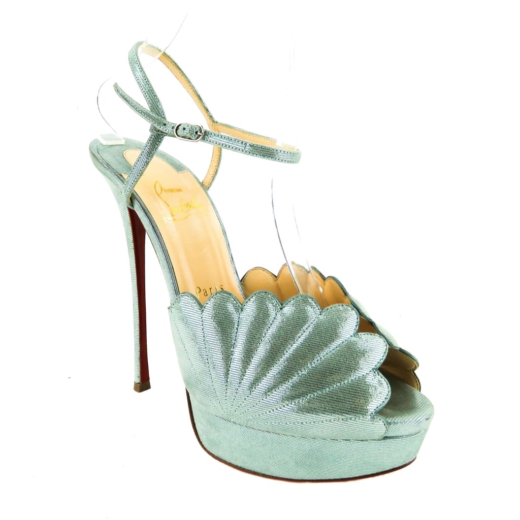 Christian Louboutin Blue Metallic Suede Botticella Mermaid Heels - Heels