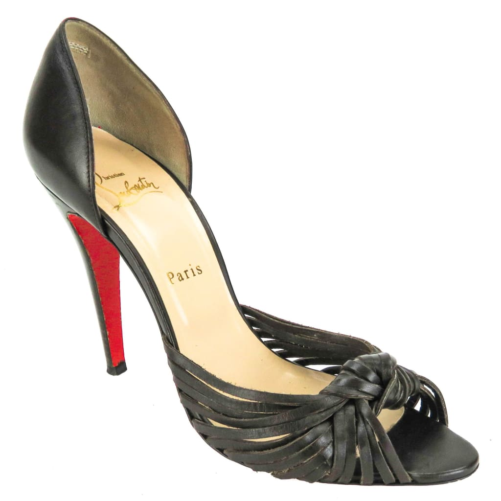 Christian Louboutin Brown Leather Knotted Dorsay 100Mm Heels - Heels