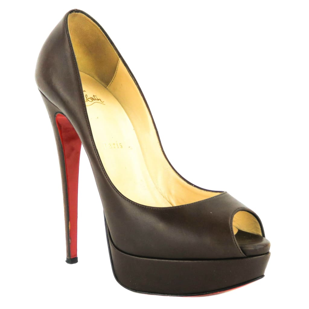Christian Louboutin Brown Leather Palais Royal Trepointe Heels - Heels