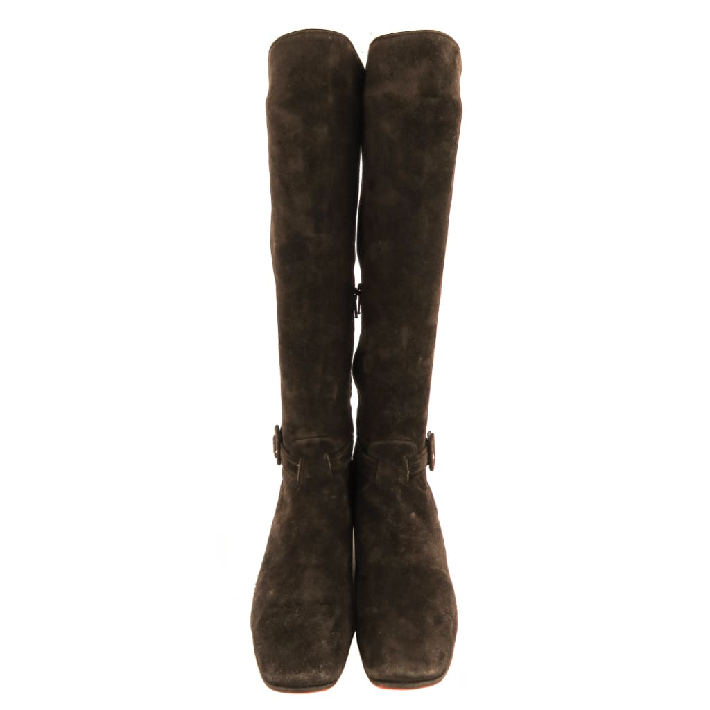 Christian Louboutin Brown Suede Tall Boots - Boots/Rain Boots
