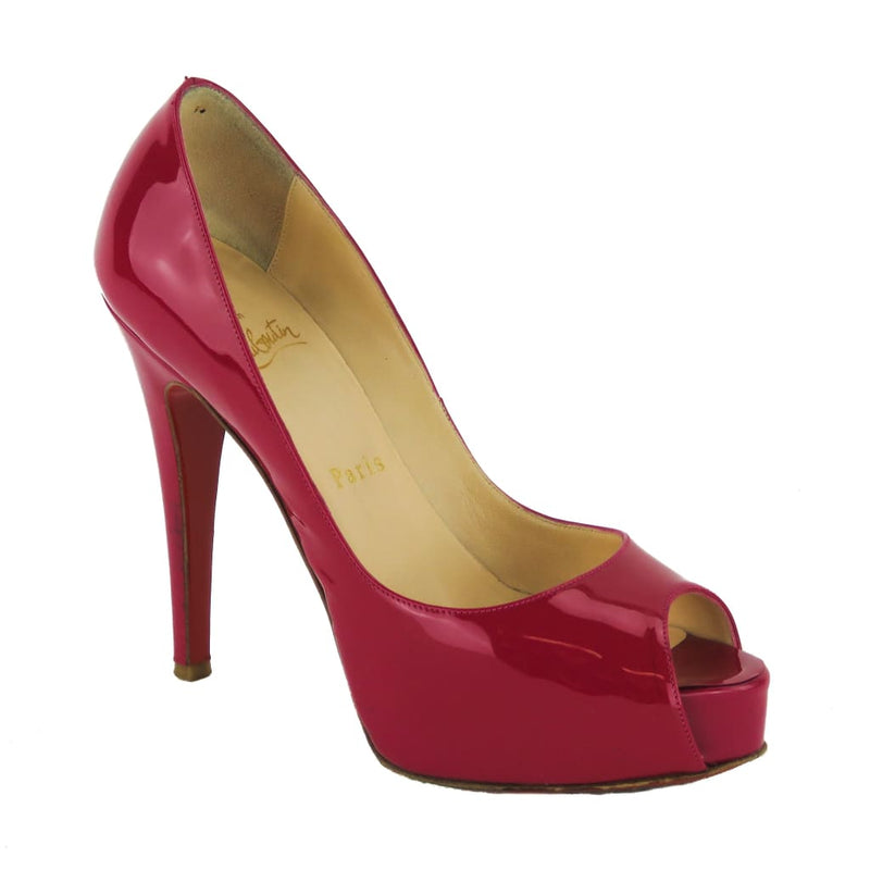 Christian Louboutin Fuschia Pink Patent Leather New Very Prive Peep Toe Pumps - Heels