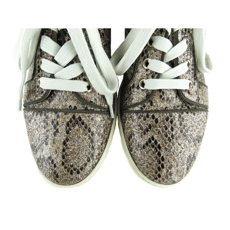 Christian Louboutin Gold Snake Embossed Glitter Roccia Sneakers - Sneakers