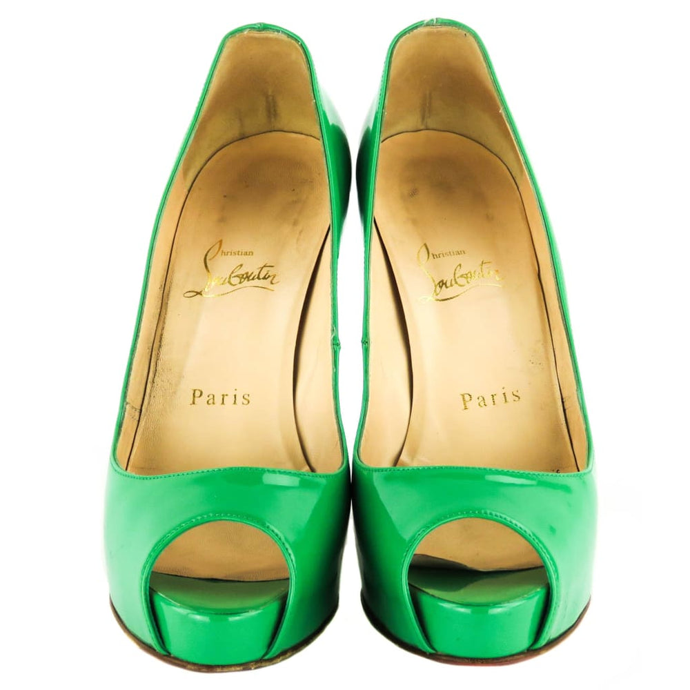52d4a4192ce Christian Louboutin Green Patent Leather New Very Prive Peep Toe 120 ...