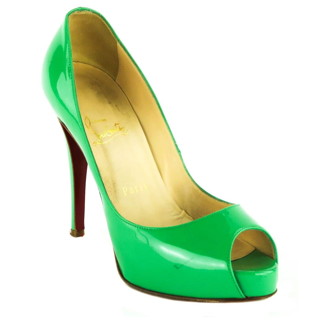 Christian Louboutin Green Patent Leather New Very Prive Peep Toe 120 Pumps - Heels