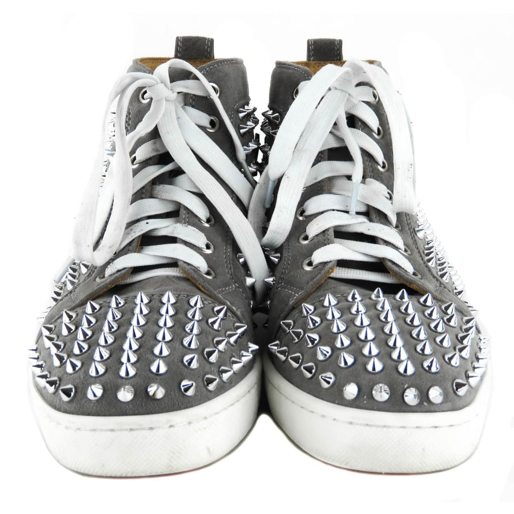 newest d5272 2ef37 Christian Louboutin Grey Suede Louis Spiked Flat High Top ...