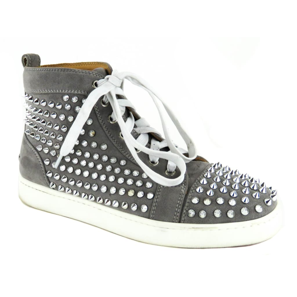 buy popular 7d6b7 51ec0 Christian Louboutin Grey Suede Louis Spiked High Top Sneakers