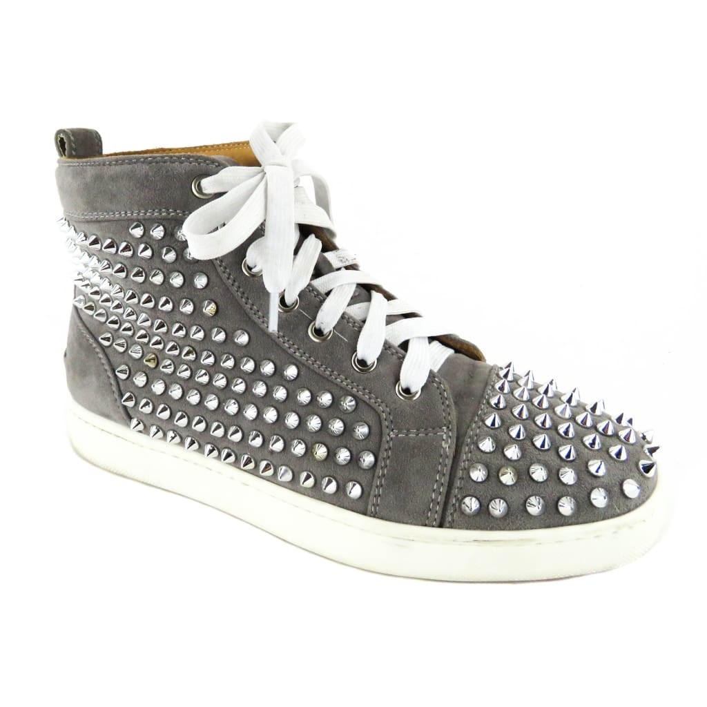 buy popular 17cca 2b18c Christian Louboutin Grey Suede Louis Spiked High Top Sneakers