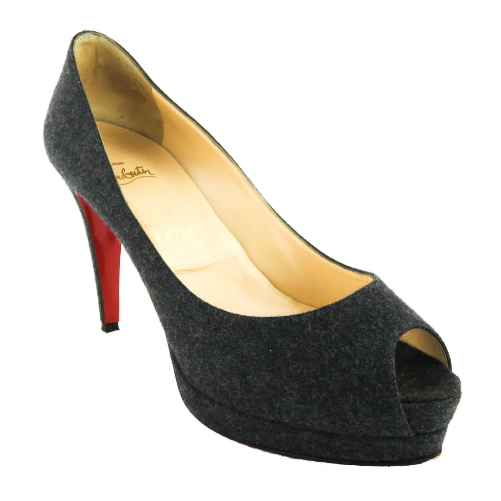 Christian Louboutin Grey Wool Fabric Peep Toe Platform Pumps - Heels