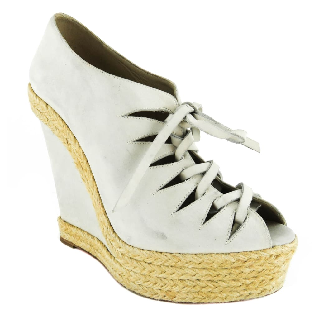 super popular e0656 430b3 Christian Louboutin Ivory Lace Up Espadrille Wedges