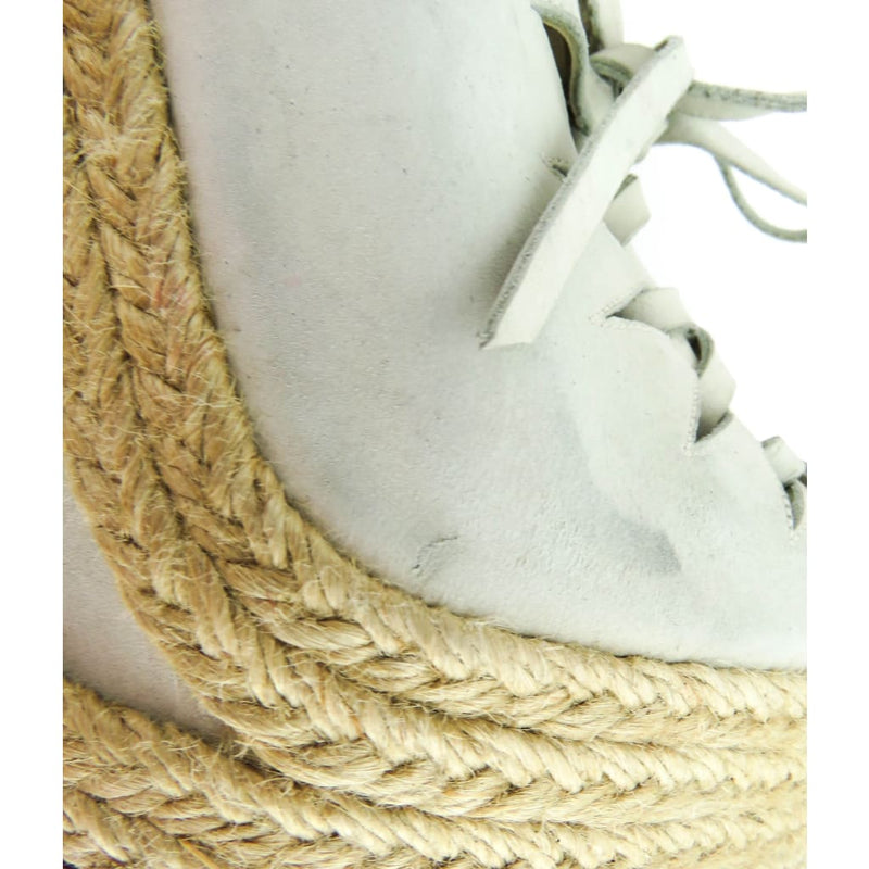 Christian Louboutin Ivory Lace Up Espadrille Wedges - Wedges