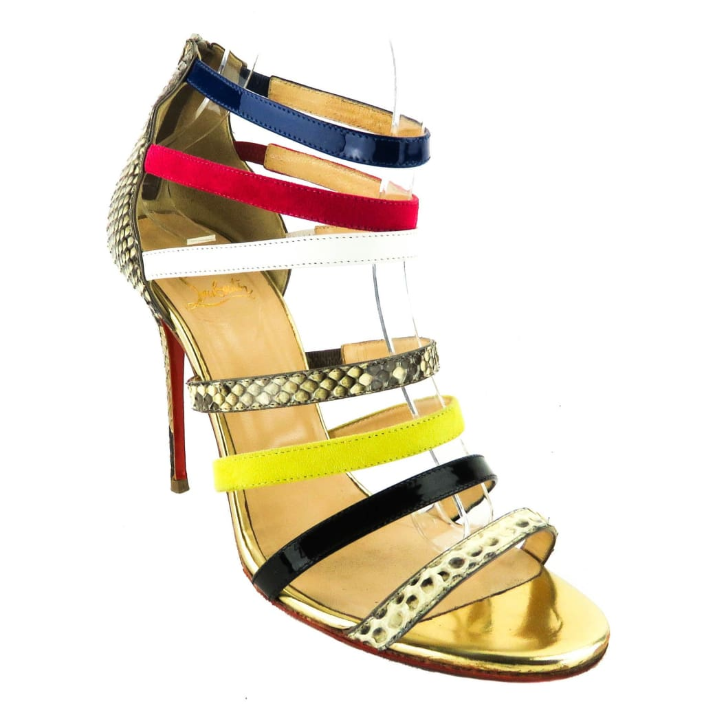 Christian Louboutin Multicolor Leather Python Mariniere Open Toe Sandal Heels - Heels