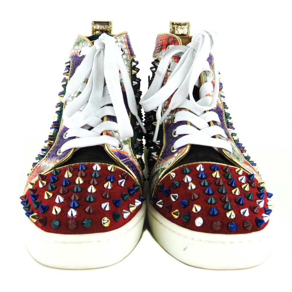 Christian Louboutin Multicolor Suede Louis Orlato Spiked High Top Sneakers - Sneakers