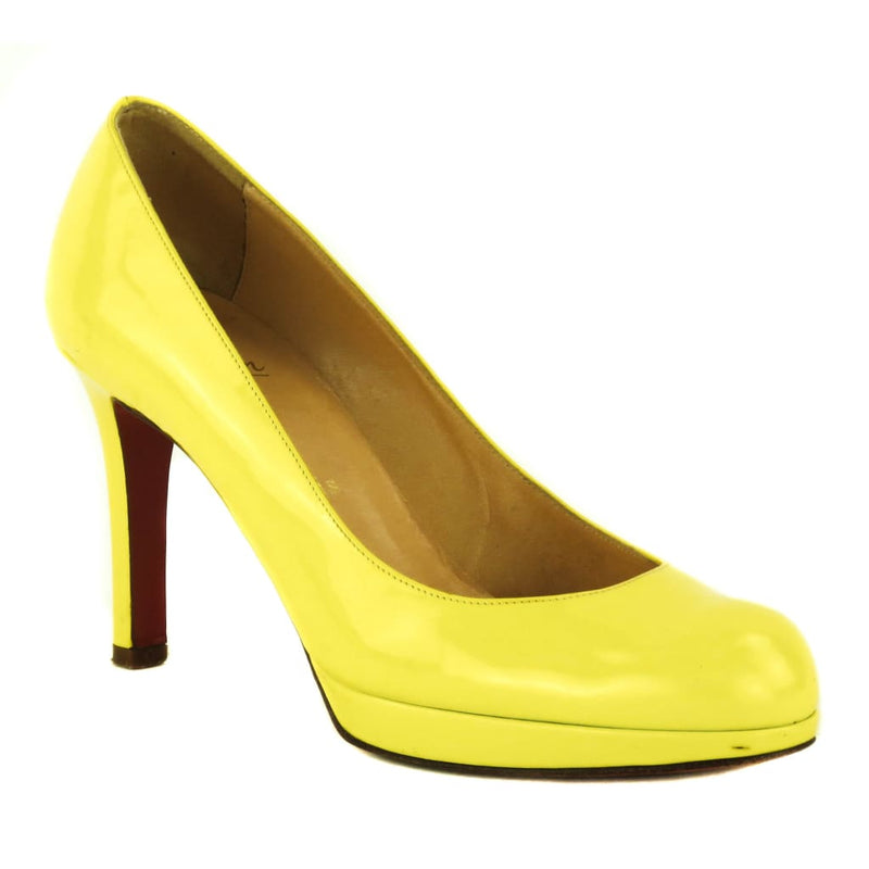 Christian Louboutin Neon Yellow Patent Leather New Simple Pumps - Heels