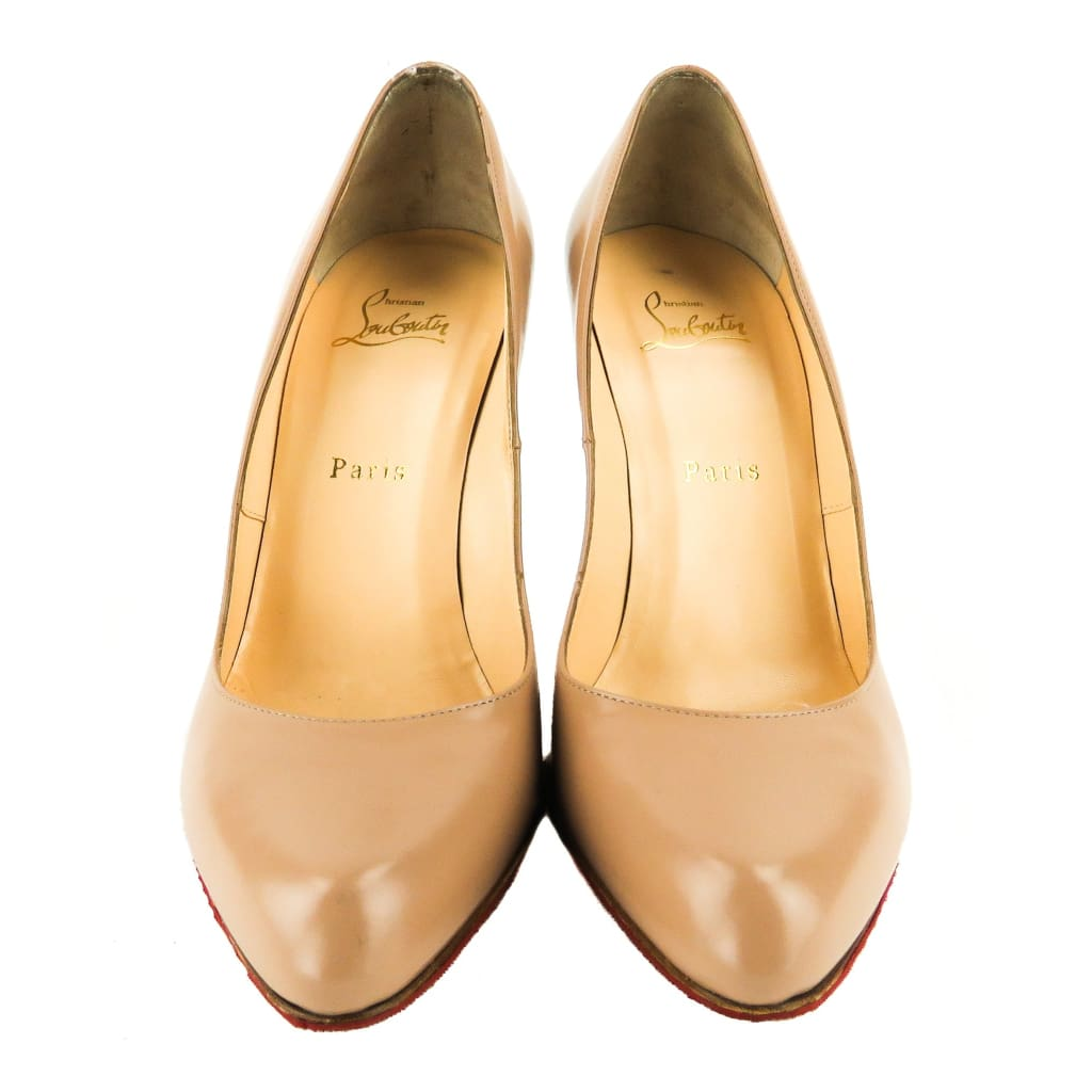 Christian Louboutin Nude Leather Decolette Jazz 100 Pumps - Heels