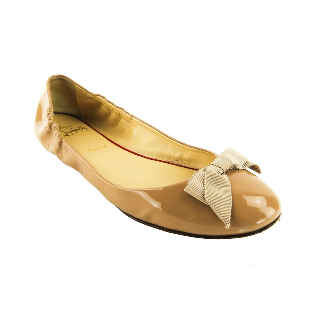 Christian Louboutin Nude Patent Leather Gloriana Bow Flats - Flats