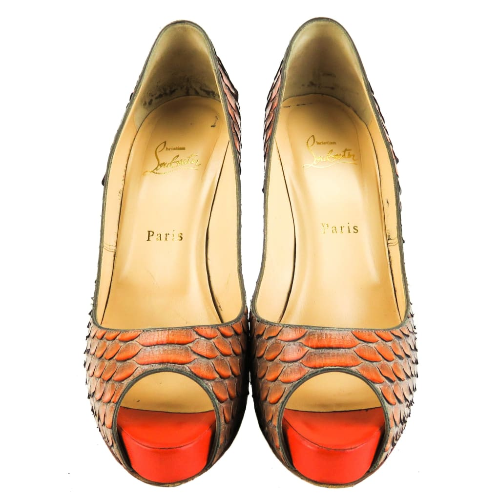 Christian Louboutin Orange Python Very Prive Platform Heels - Heels
