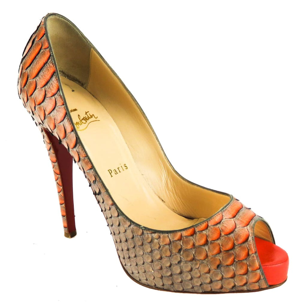 d11a4e81ac0 Christian Louboutin Orange Python Very Prive Platform Heels – Mosh ...