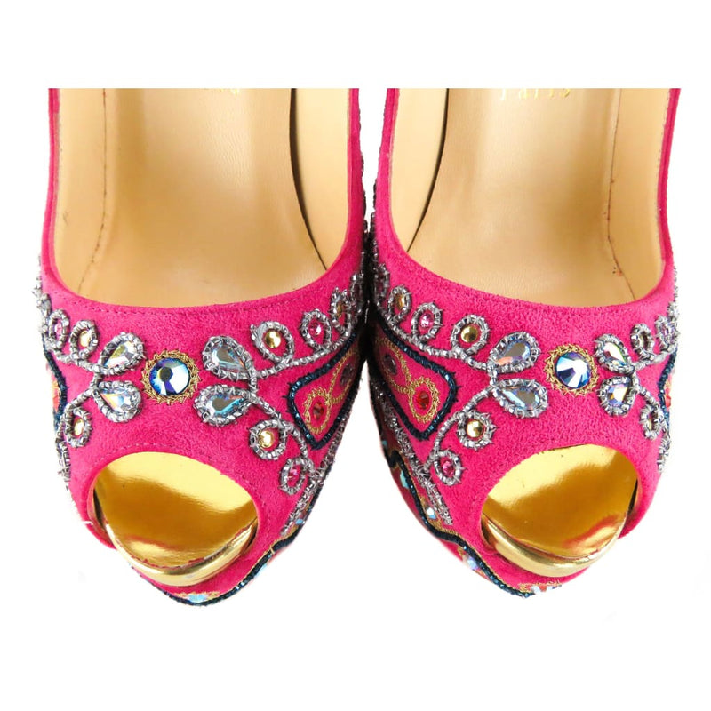 Christian Louboutin Pink Suede Bollywoody Embellished 150 Pumps - Heels