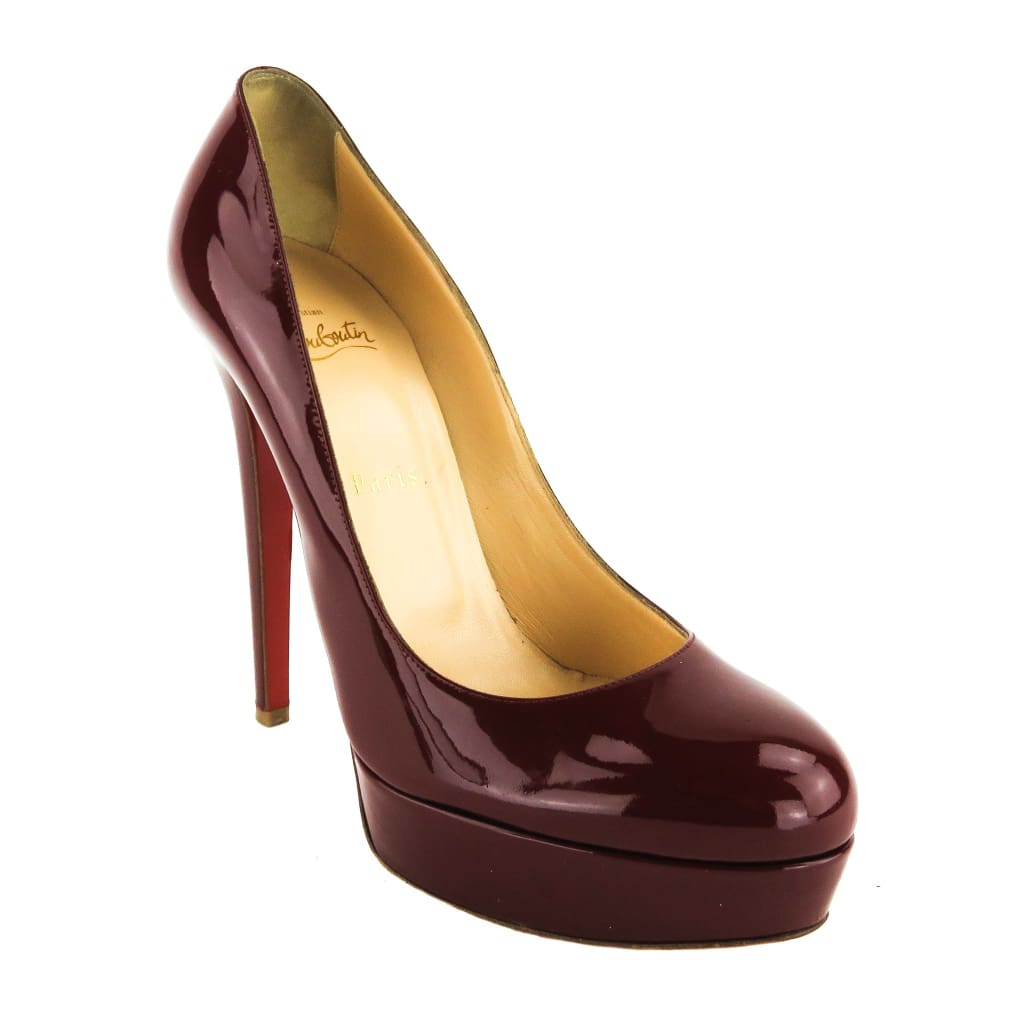 Christian Louboutin Red Patent Leather Bordeaux Bianca Platform Heels - Heels