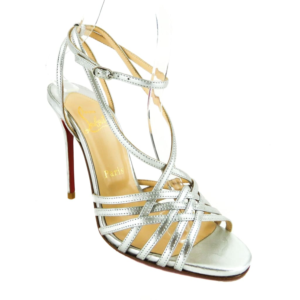 Christian Louboutin Silver Metallic Leather Cage Sandal Heels - Heels