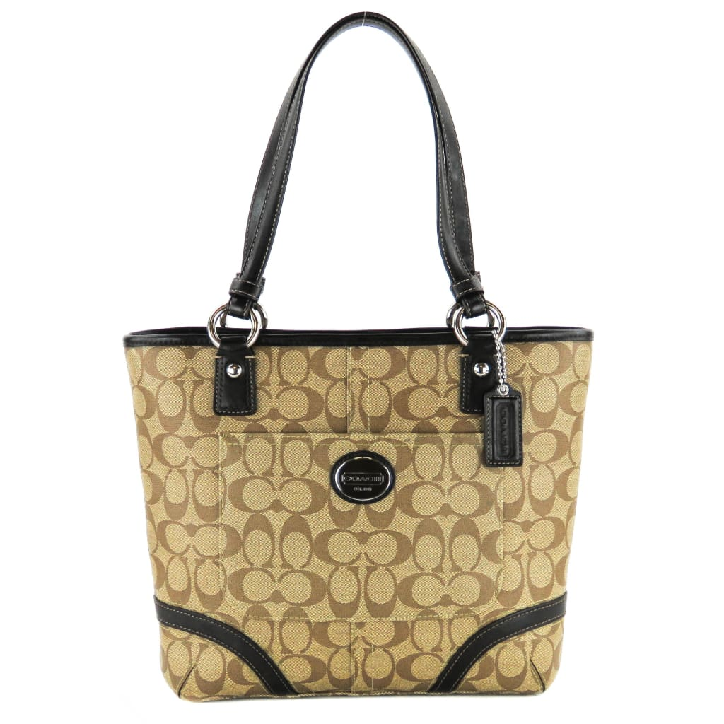 Coach Beige Signature Canvas Peyton Heritage Tote Bag - Totes