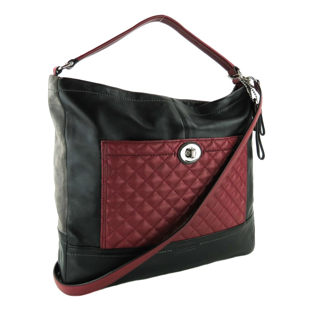 Coach Black and Red Quilted Leather East West Carne Park Hobo Shoulder Bag - Hobo Bags