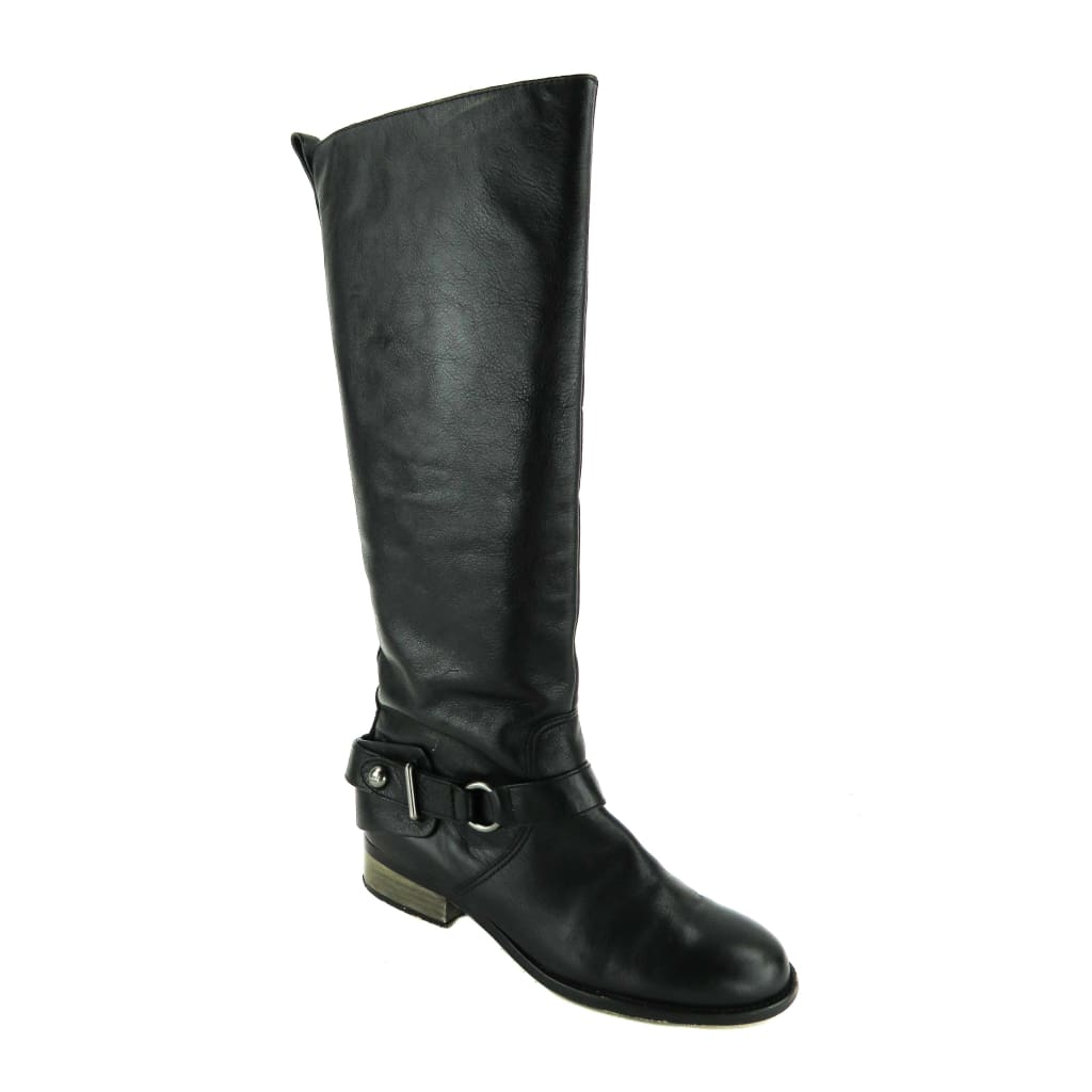 Coach Black Distressed Leather Natalie Knee High Riding Boots - Boots/Rain Boots