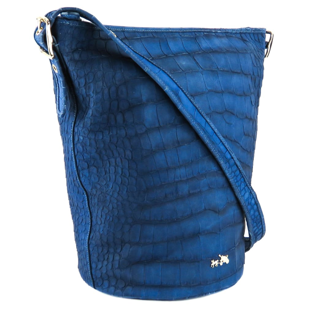 Coach Blue Croc Embossed Leather Duffle Bucket Bag - Bucket Bags