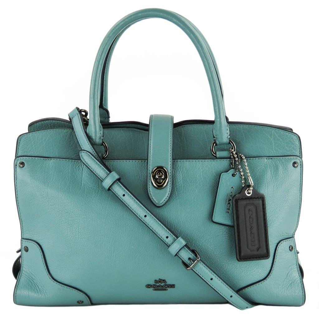 Coach Blue Grain Leather Cloud Mercer 30 Satchel Bag - Satchels