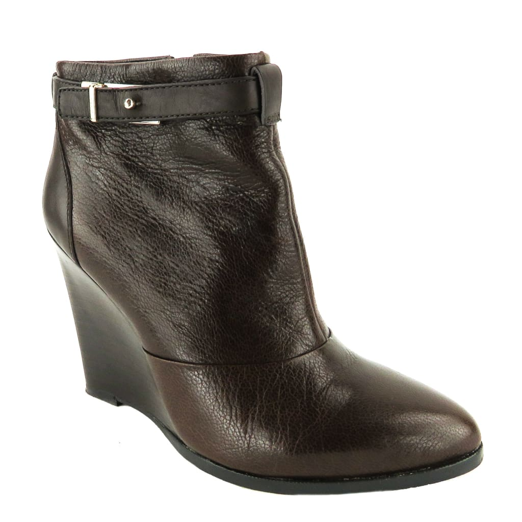 Coach Brown Leather Melody Wedge Booties - Bootie