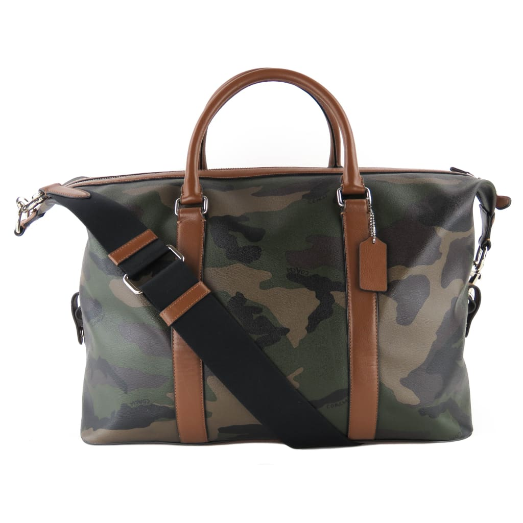 Coach Camouflage Leather Voyager Weekend Duffle Luggage Bag - Luggage