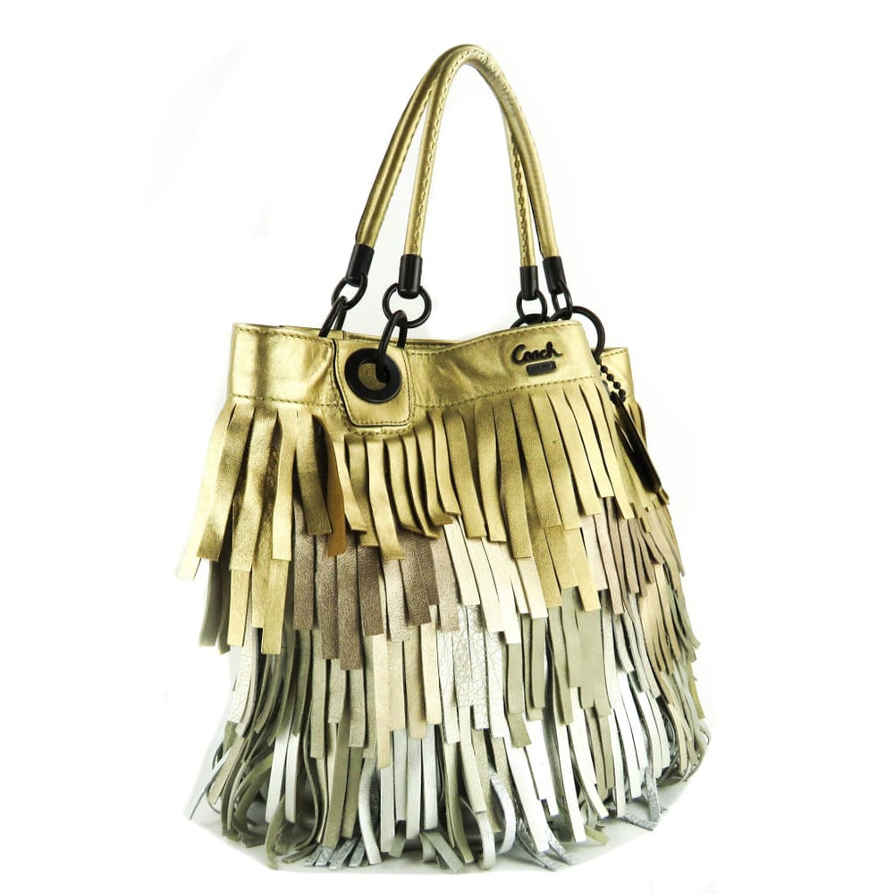 f123169f20 Coach Gold and Silver Metallic Leather Ombre Madison Fringe Hobo Bag ...