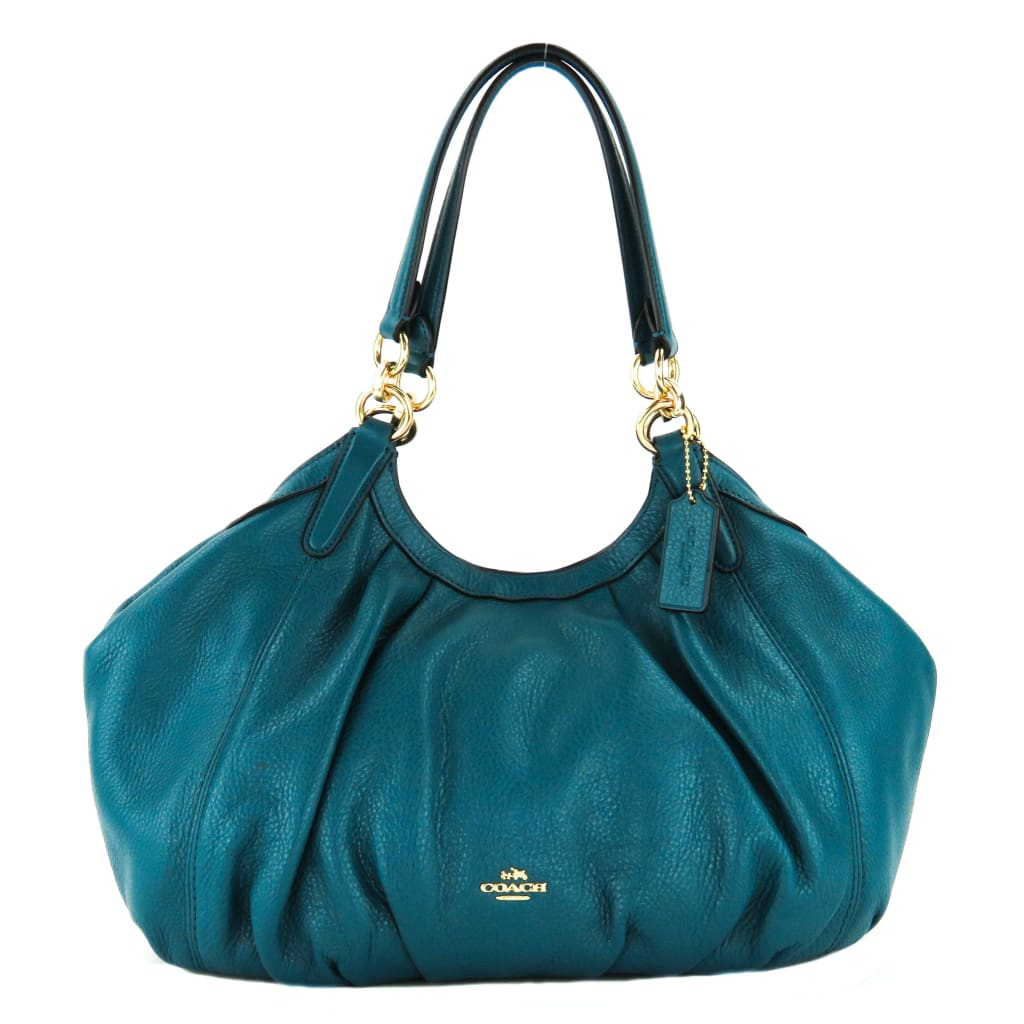 Coach Teal Pebbled Leather Lily Shoulder Bag - Satchels