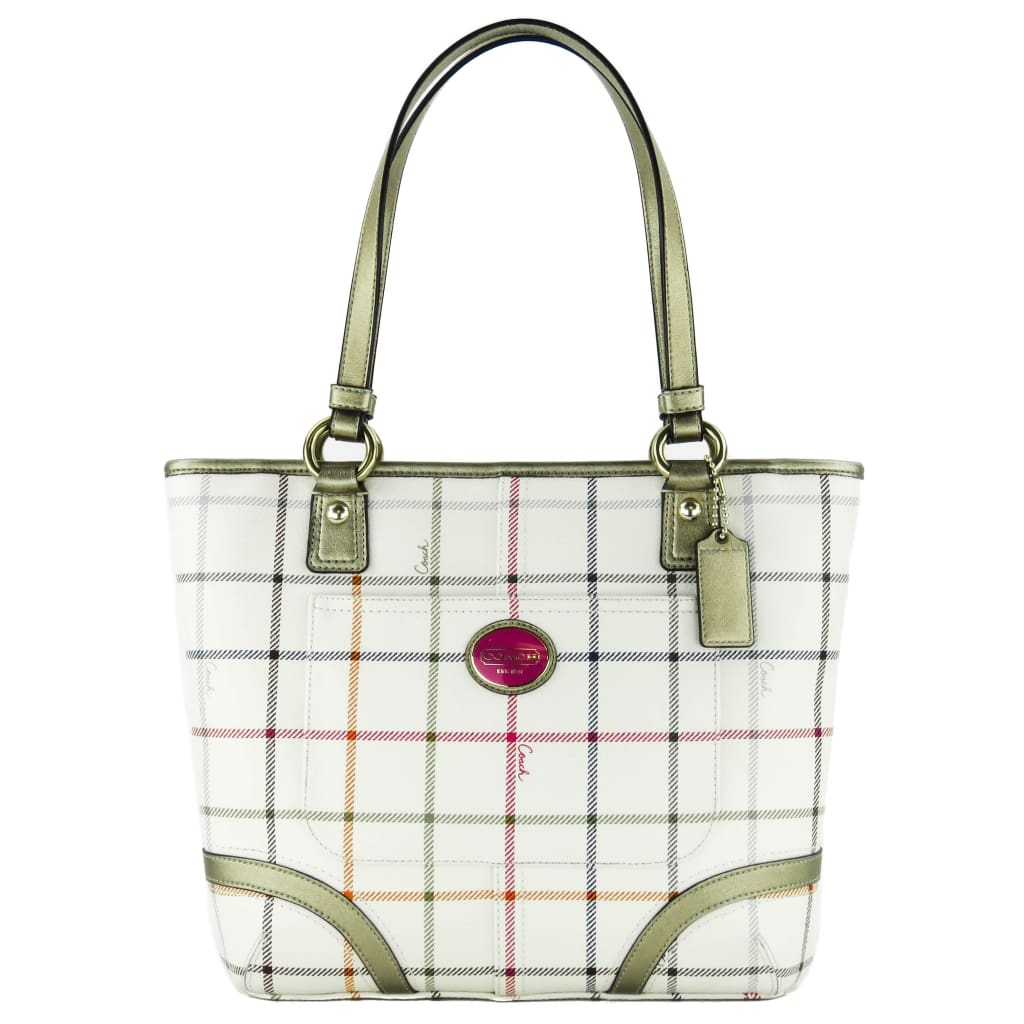 Coach White Coated Canvas Peyton Multicolor Tattersall Plaid Tote Bag - Totes