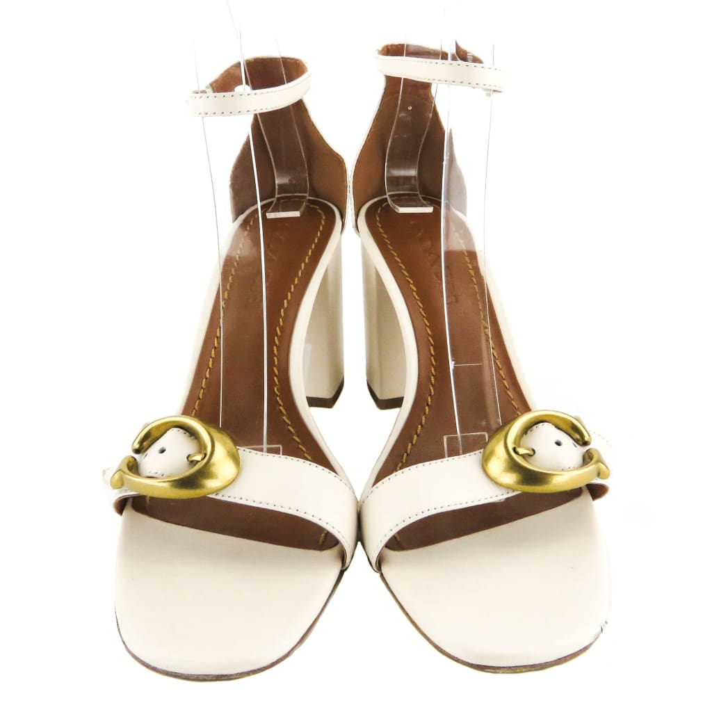Coach White Leather Maya Signature Buckle Sandal Heels - Heels