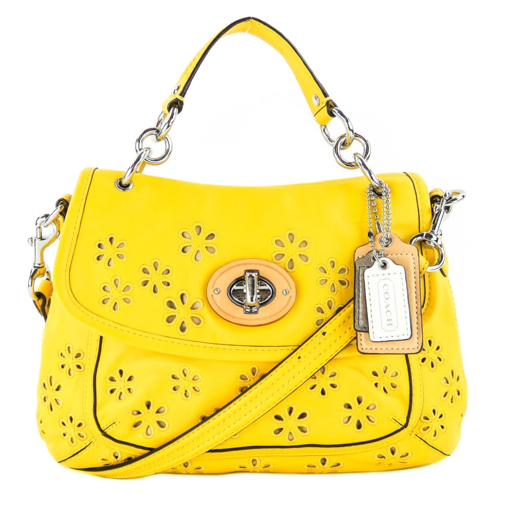 Coach Yellow Leather Poppy Eyelet Two-way Crossbody Bag - Crossbodies