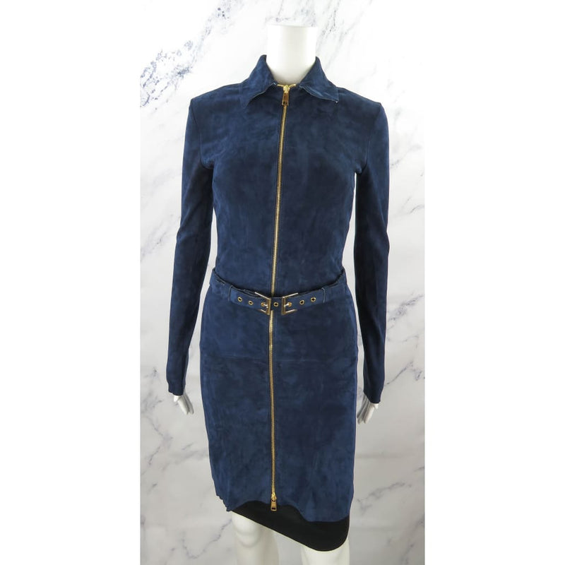Coco Pari Navy Blue Suede Zip Up Size 38 Belted Dress - Dresses