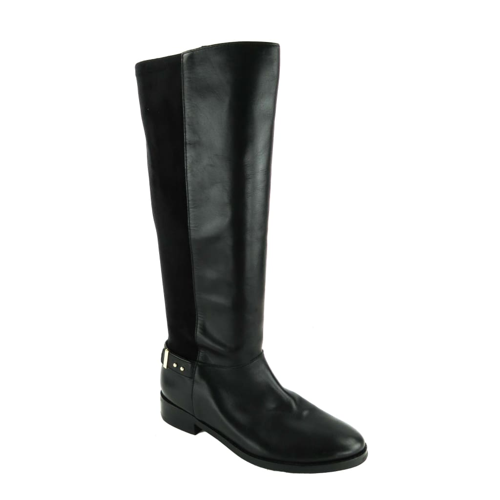 Cole Haan Black Leather and Suede Adler Knee High Boots - Boots/Rain Boots