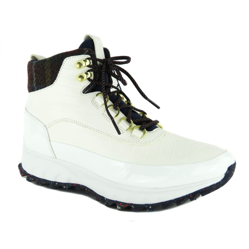 Cole Haan White Croc Emobossed Leather Zerogrand Hiker Boots - Boots/Rain Boots