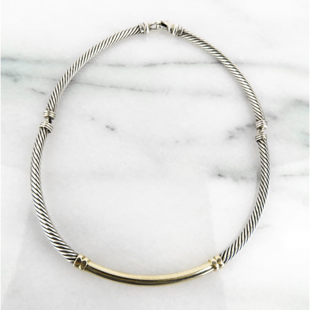 David Yurman 14K Gold Sterling Silver Cable Metro Collar Necklace - Necklace