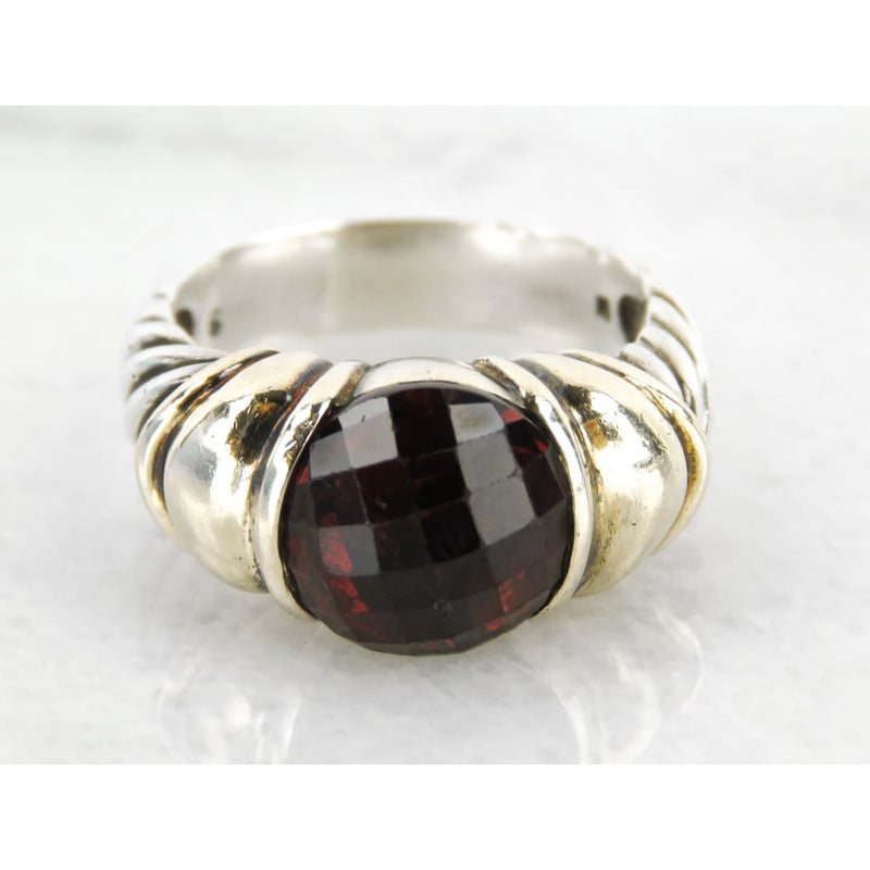 David Yurman 14K Gold Sterling Silver Garnet Noblesse Ring - Ring