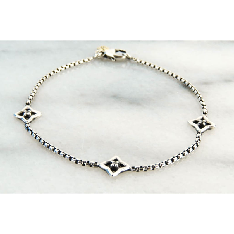 David Yurman 18K Gold Sterling Silver Quatrefoil Diamond Bracelet - Bracelet