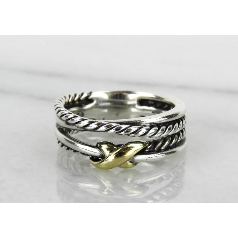 David Yurman 18K Gold Sterling Silver X Crossover Ring - Ring